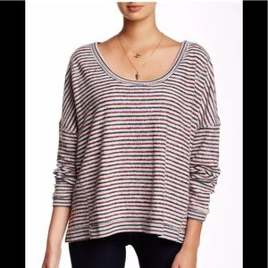 Free People Pullover Stripe Oversized Sweater, Med